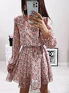 Жіноче трендове весняне плаття в квітковий принт, 00659 (Пудровий), Розмір 42 (S), фото 7