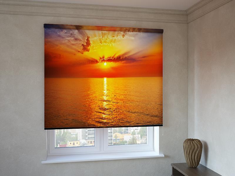 Рулонні штори з фотодруком захід сонця над морем