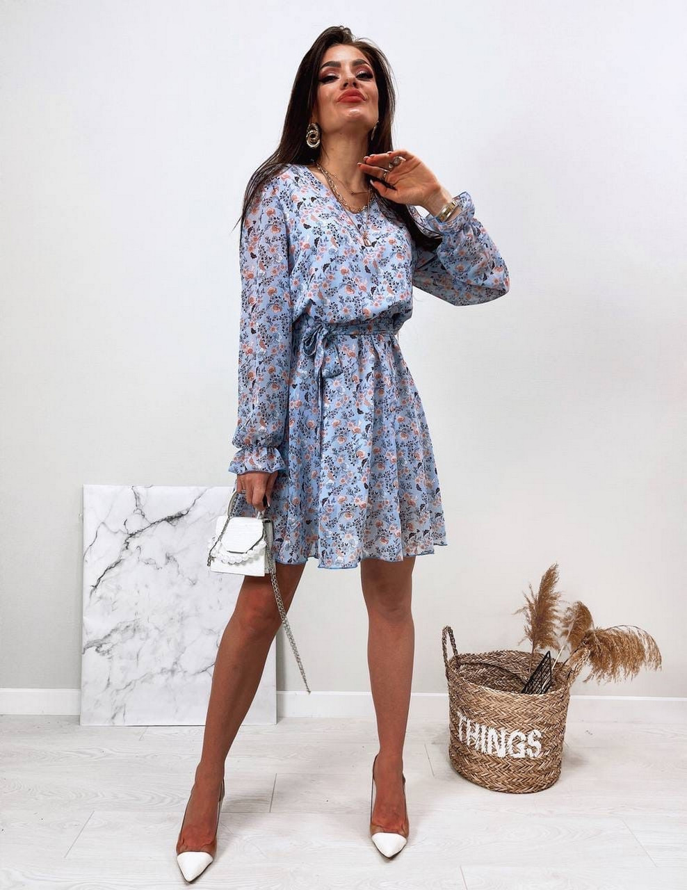 Стильне і легке жіноче плаття з довгим рукавом, 00658 (Голубий), Розмір 44 (M)