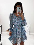 Стильне і легке жіноче плаття з довгим рукавом, 00658 (Голубий), Розмір 44 (M), фото 3