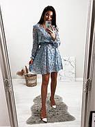 Стильне і легке жіноче плаття з довгим рукавом, 00658 (Голубий), Розмір 44 (M), фото 4