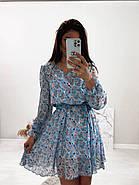 Стильне і легке жіноче плаття з довгим рукавом, 00658 (Голубий), Розмір 44 (M), фото 5