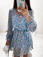 Стильне і легке жіноче плаття з довгим рукавом, 00658 (Голубий), Розмір 44 (M), фото 6