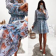 Стильне і легке жіноче плаття з довгим рукавом, 00658 (Голубий), Розмір 44 (M), фото 10
