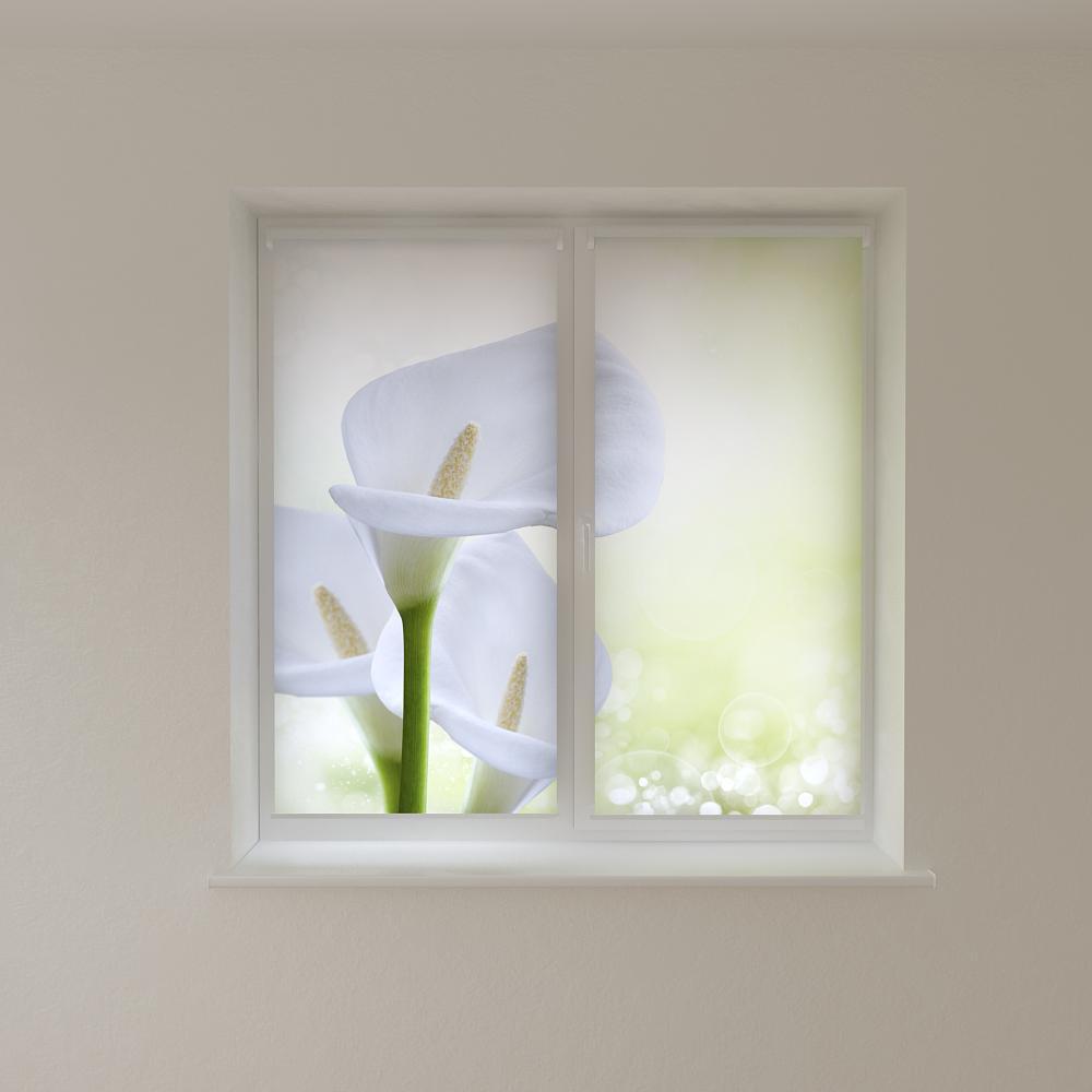 Рулонные шторы с фотопечатью белые лилии