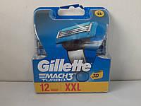 Кассеты для бритья мужские Gillette Mach 3 Turbo 12 шт ( Жиллет Мак 3 турбо новый дизайн оригинал)