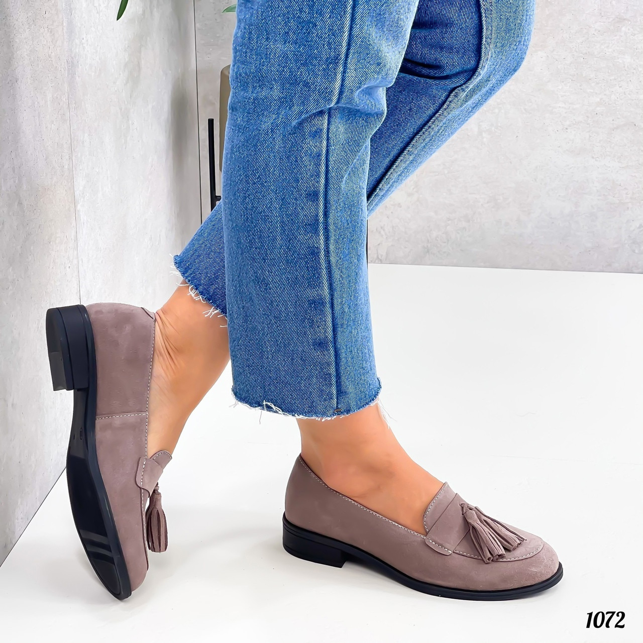 Бежевые туфли на низком каблуке 1072 (ТМ)