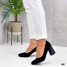 Черные замшевые туфли на толстом каблуке 109 (ТМ), фото 2
