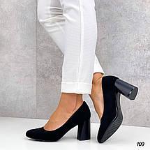 Черные замшевые туфли на толстом каблуке 109 (ТМ), фото 3
