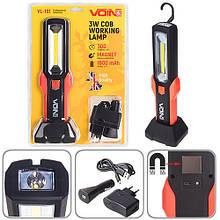 "Переносна лампа ""VOIN"" VL-191 12V/220V/3W-COB+2 LED-НР/АКБ/USB+microUSB/магніт/база (VL-191)"