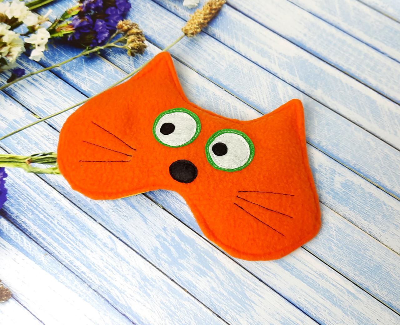 """Маска для сна """"Рыжий кот"""" - Мягкая флисовая маска для сна на резинке - Прикольная маска для сна"""