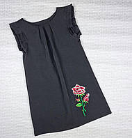 Стильное платье РОЗА на девочку 128 см, черный