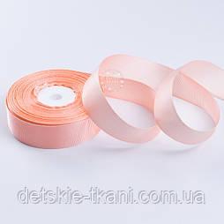 Репсова стрічка шириною 25 мм персикового кольору, бобіна 23 м