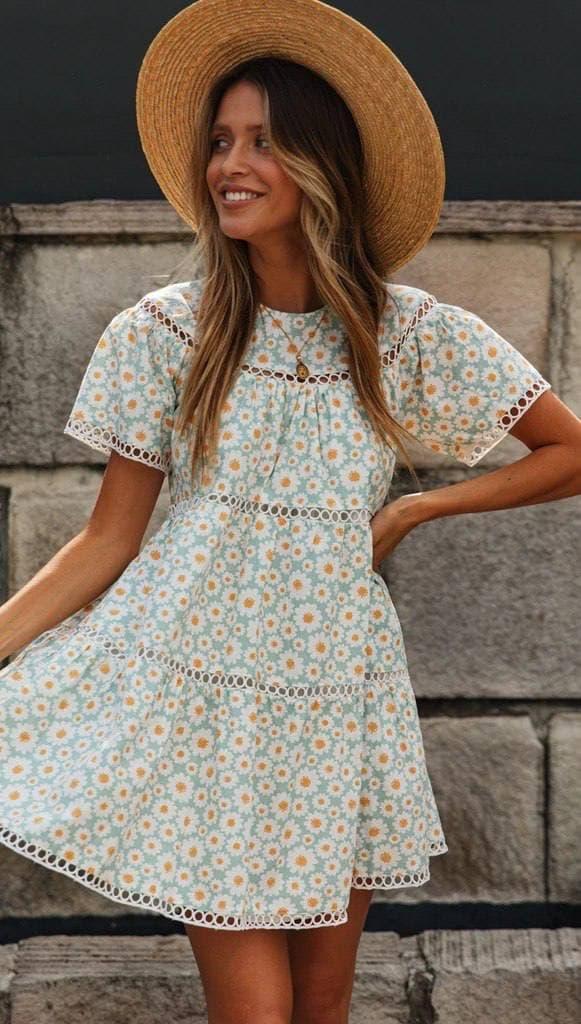 Вільне плаття літнє у квітковий принт з коротким рукавом (р. S-L) 68032386