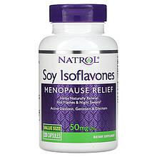 """Соевые изофлавоны Natrol """"Soy Isoflavones Menopause Relief"""" поддержка во время менопаузы, 50 мг (120 капсул)"""