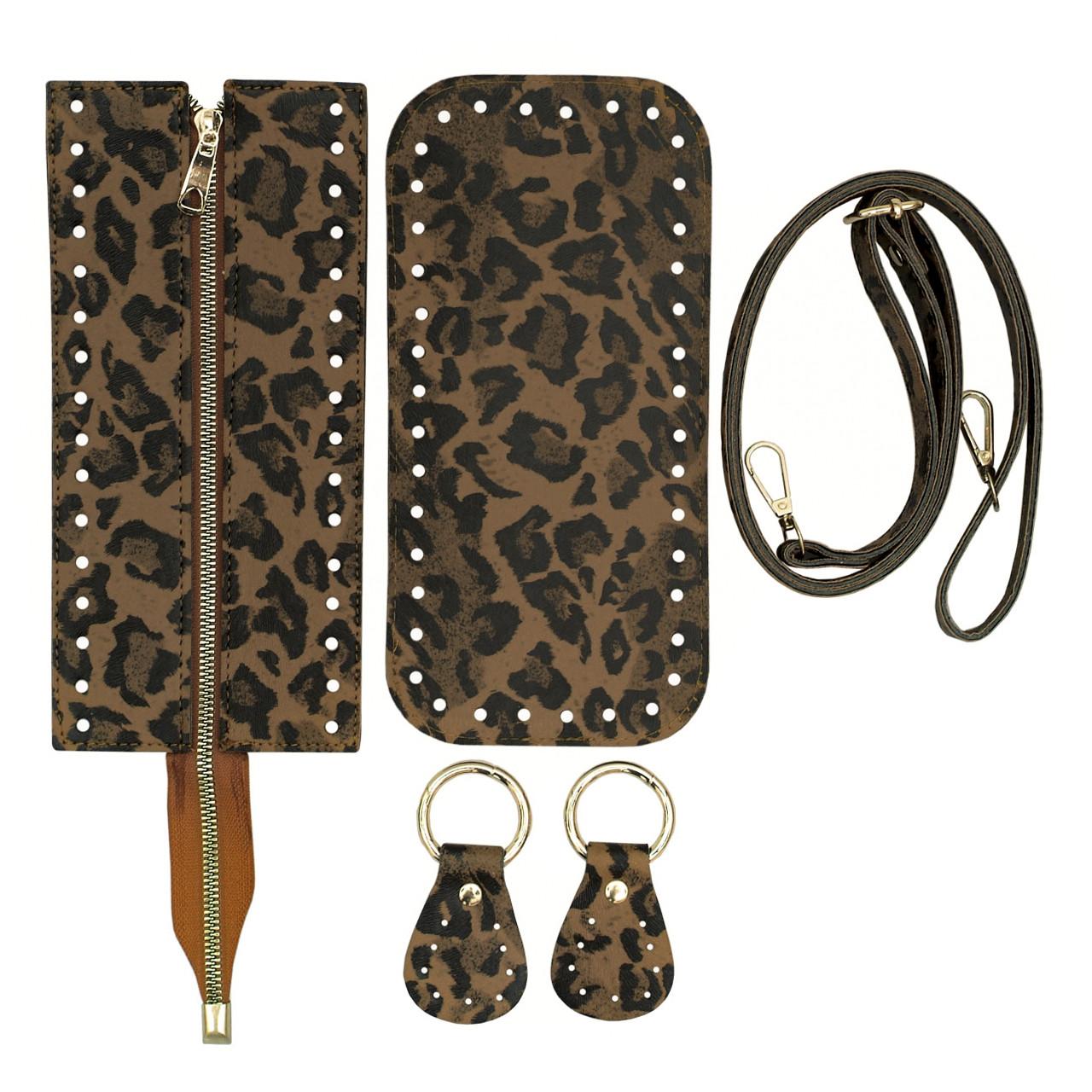 Набір для сумки екокожа Тигровий: денце+верх на змійці 12х25см з регульованою ручкою