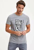 Серая мужская футболка Defacto / Дефакто с тигром Whatever