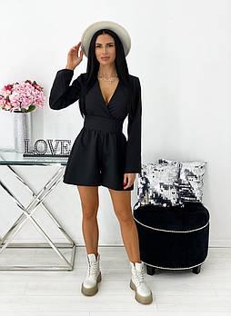 Комбинезон женский, юбка шорты, широкий длинный рукав, 00727 (Черный), Размер 44 (M)