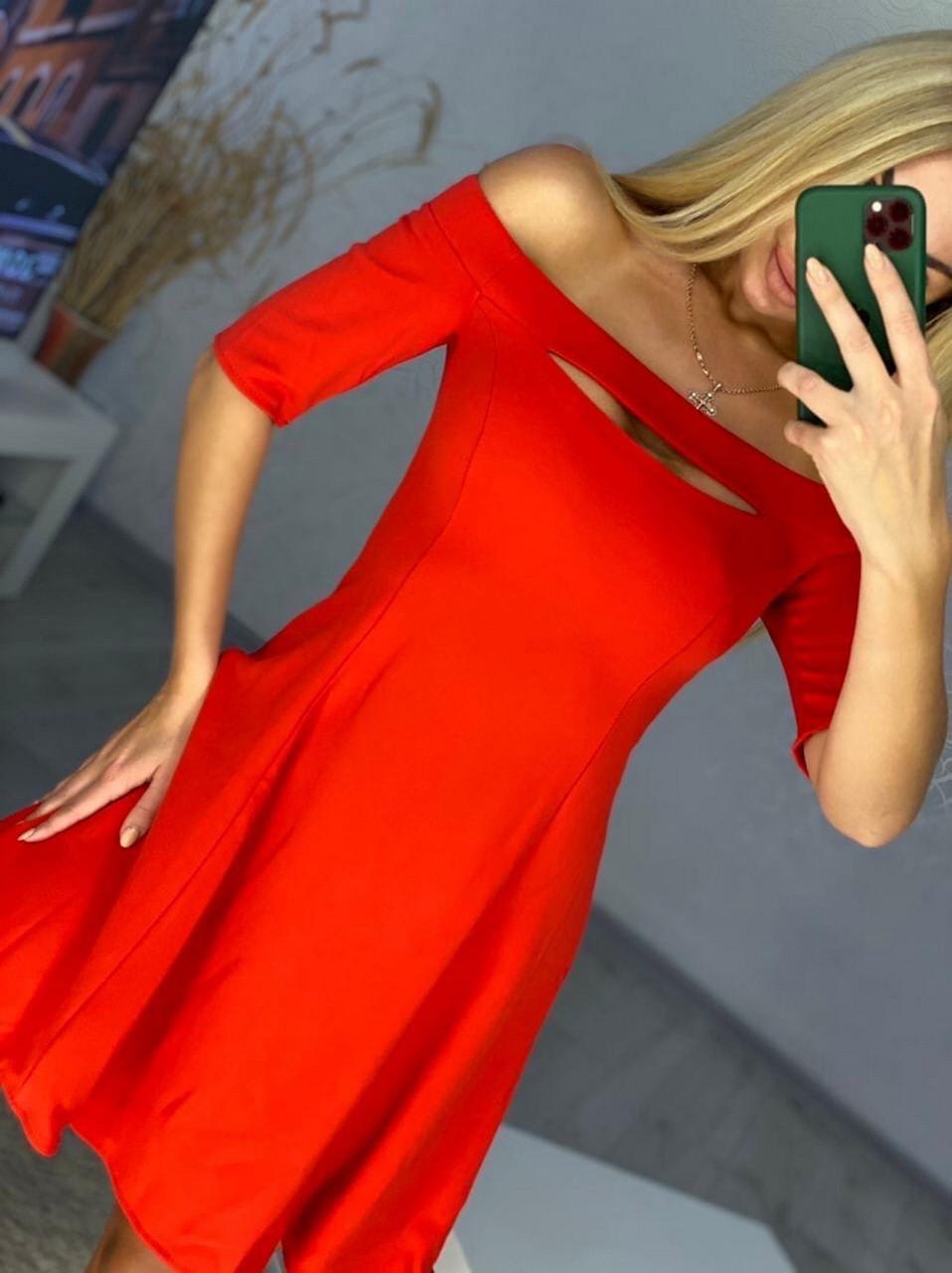 Оригінальна коротка жіноча сукня з оголеними плечима, 00666 (Червоний), Розмір 46 (L)