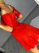 Оригінальна коротка жіноча сукня з оголеними плечима, 00666 (Червоний), Розмір 46 (L), фото 2
