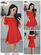 Оригінальна коротка жіноча сукня з оголеними плечима, 00666 (Червоний), Розмір 46 (L), фото 3