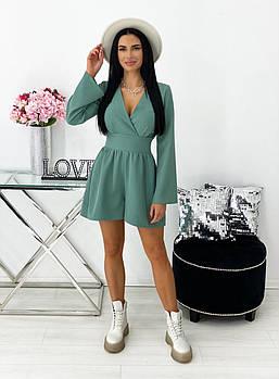 Модный женский короткий комбинезон с длинным широким рукавом, 00728 (Оливковый), Размер 48 (XL)