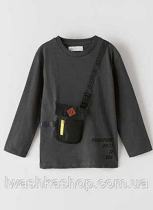 Стильный серый лонгслив с карманом - сумкой на мальчика 9 лет, размер 134, ZARA