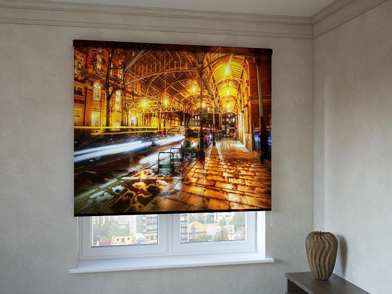 Рулонні штори з фотодруком вечірнє місто 3D