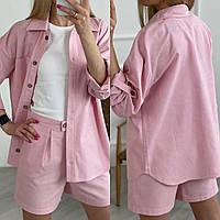 Летний женский костюм рубашка и шорты ткань лён размеры 42,44,46,48,50,52