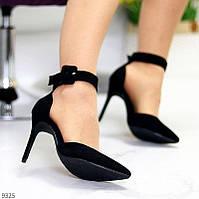 """Жіночі туфлі - човники з ремінцем , на шпильці Чорні """"Style"""", фото 1"""