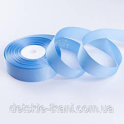 Репсова стрічка шириною 25 мм блакитного кольору, бобіна 23 м