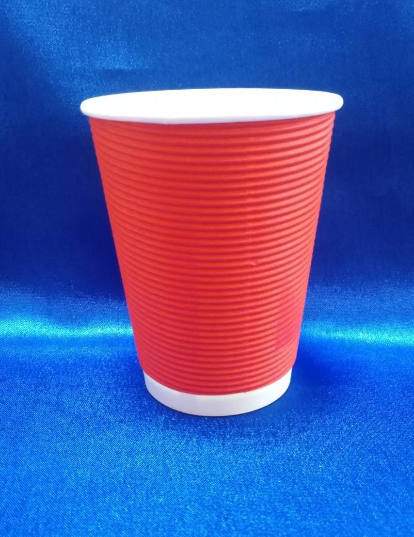Стакан для кави гофро. червоний 270мл /25 шт
