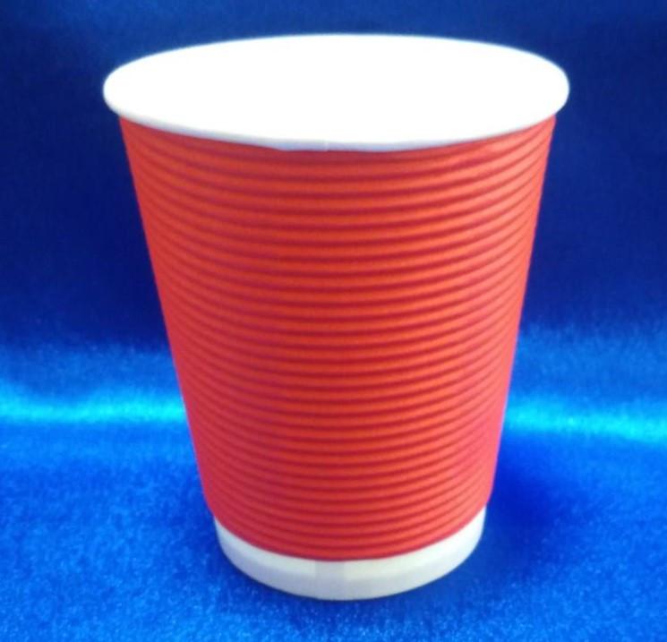 Стакан для кави гофро. червоний 430мл /25 шт