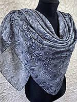 Женский хлопковый серый платок в этническом стиле (цв.8)