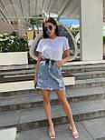 Женская джинсовая юбка рваная с потёртостями талия на резинке, фото 2