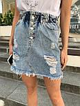 Женская джинсовая юбка рваная с потёртостями талия на резинке, фото 3
