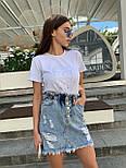 Женская джинсовая юбка рваная с потёртостями талия на резинке, фото 4