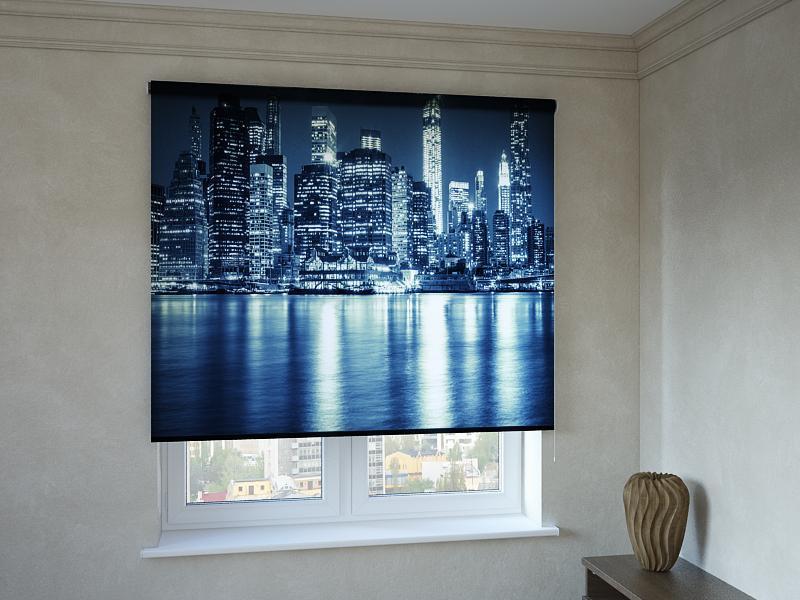 Рулонные шторы с фотопечатью светящиеся здания 3д