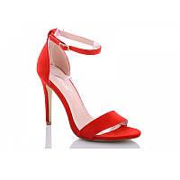 Босоножки женские красные замшевые на тонком высоком каблуке с закрытым задником/ 36, 37, 39 размеры