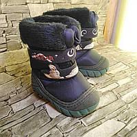 Черевики (чоботи) дутики дитячі,сині з хутром зимові Sgear, розмір 20-12 см
