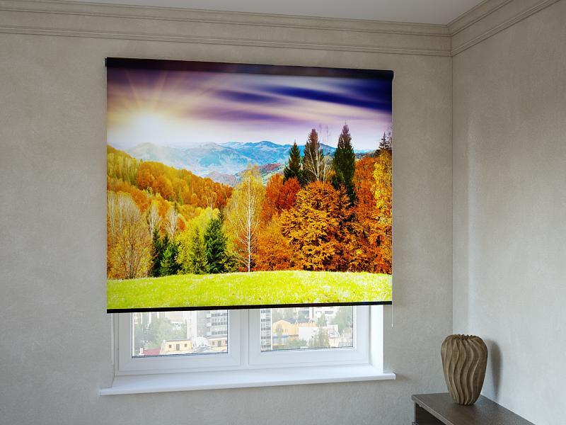 Рулонні штори з фотодруком осінній ліс і гори