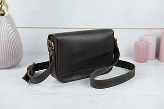 Сумка жіноча. Шкіряна сумочка Берті Вінтажна шкіра колір Шоколад, фото 3