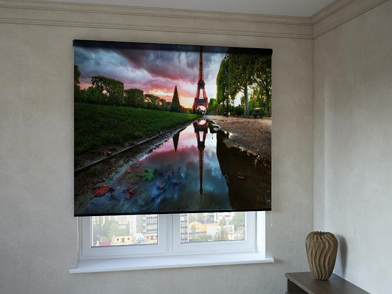 Рулонные шторы с фотопечатью Эйфелева башня в облаках