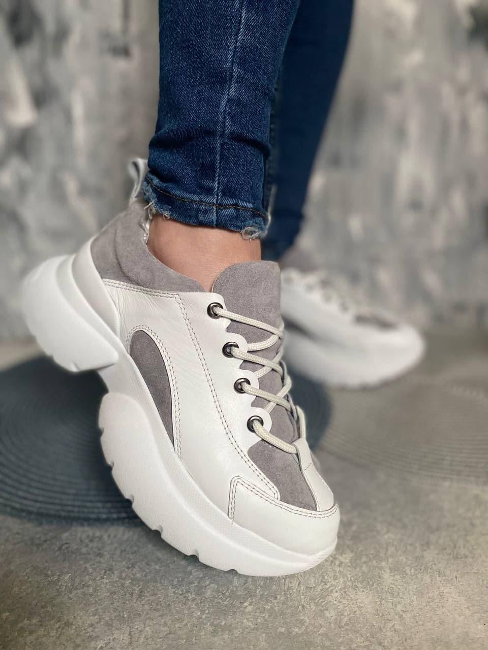 Женские комбинированные кроссовки со шнуровкой 36-41 р