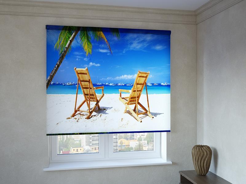 Рулонные шторы с фотопечатью пляж и яхты 3д