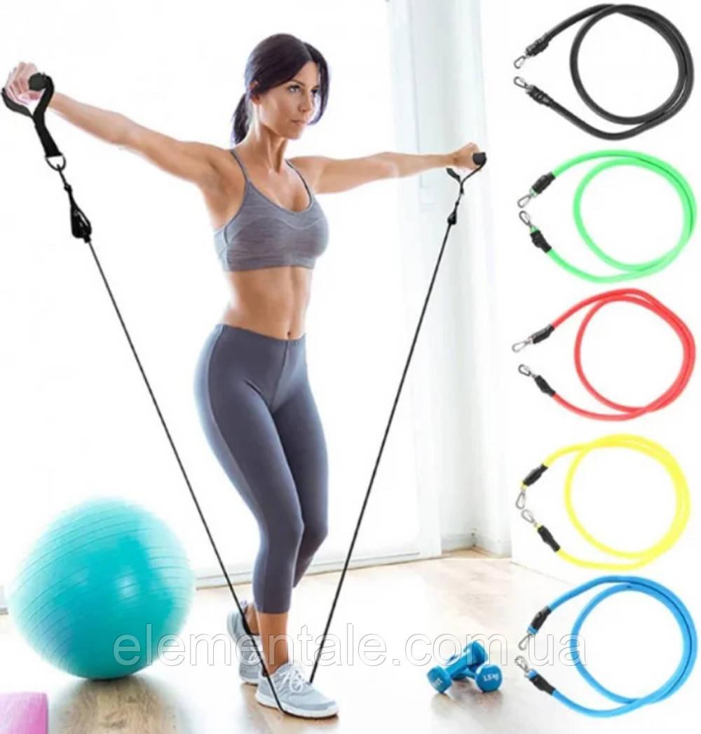 Многофункциональный Набор трубчатых эспандеров Трубчатые фитнес резинки для упражнений 5 штук