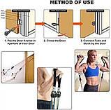 Многофункциональный Набор трубчатых эспандеров Трубчатые фитнес резинки для упражнений 5 штук, фото 8