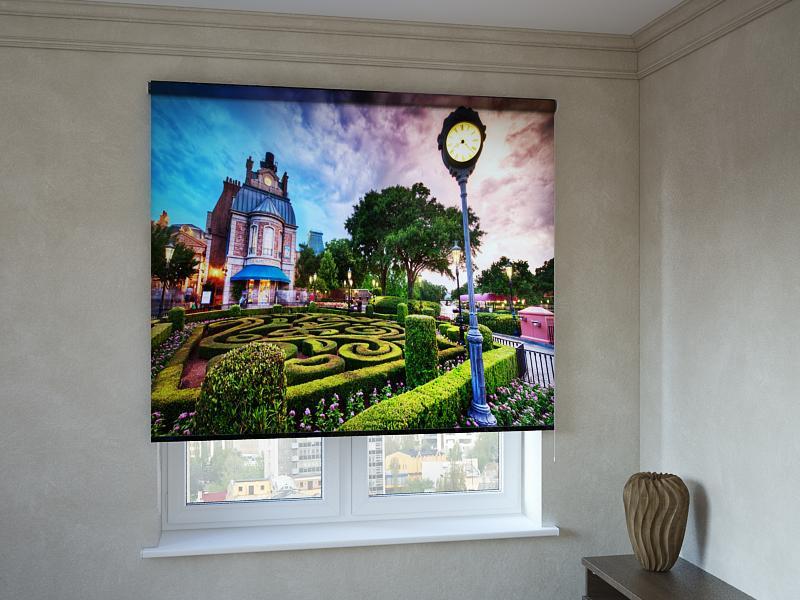 Рулонные шторы с фотопечатью сад и дом