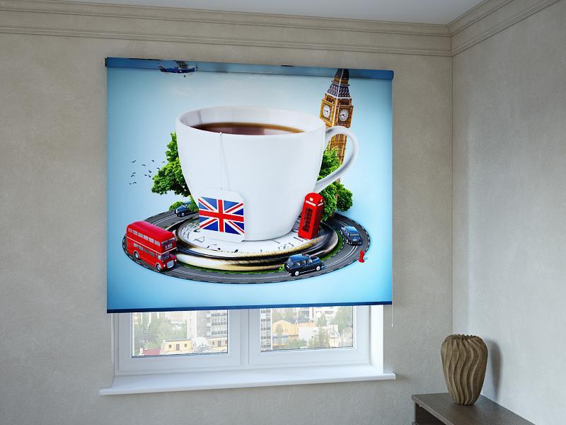 Рулонні штори з фотодруком чашка чаю