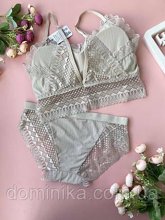 Сірий повсякденний універсальний комплект жіночої нижньої білизни, фото 2